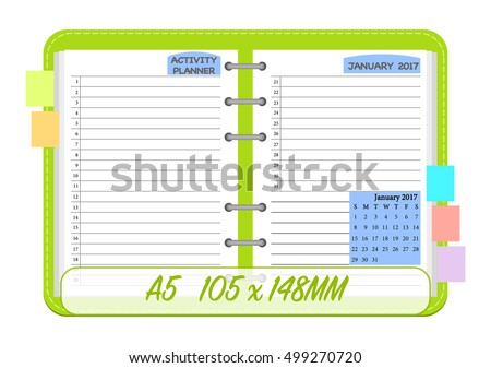 january 2017 calendar template monthly planner stock vector royalty