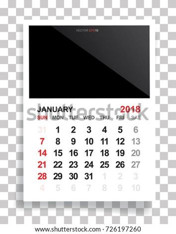 january 2018 calendar background with empty photo area white sheet of paper on a