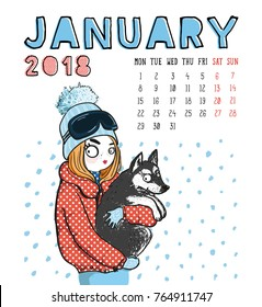 January. 2018 calendar. Cute girl with dog in winter. Can be used like greeting cards.