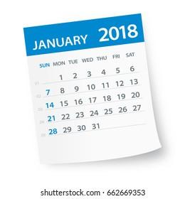 January 2018 Calendar Leaf - Vector Illustration