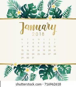 January : 2018 Calendar Template with Exotic Tropical Leaves : Vector Illustration