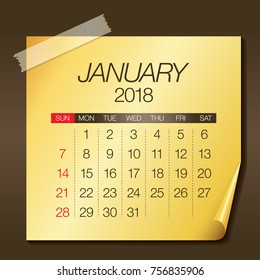 January 2018 calendar vector illustration, simple and clean design.