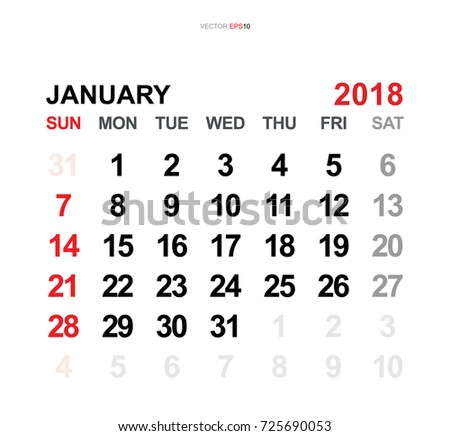 January 2018 Vector Monthly Calendar Template Stock Vector Royalty