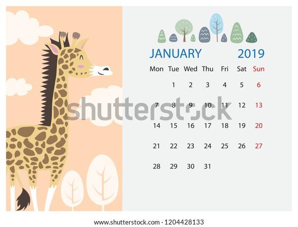 January 2019 Calendar Design Cute Cartoon Stock Vector