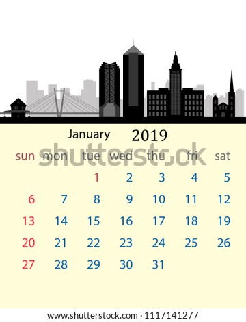 january 2019 calendar of the united states with the city skyline of cleveland