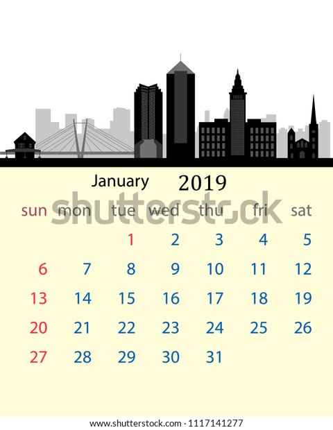 January 2019 Calendar United States January 2019 Calendar United States City Stock Vector (Royalty