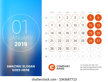 January 2019. Desk calendar for 2019 year. Vector design print template with place for photo. Week starts on Monday. Calendar grid with week numbers