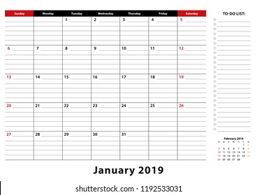 January 2019 Monthly Desk Pad Calendar week starts from sunday, size A3. January 2019 calendar planner with to-do list and place for notes.