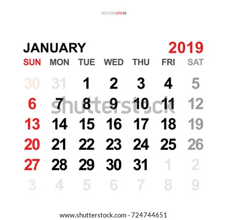 January 2019 Vector Monthly Calendar Template Stock Vector Royalty