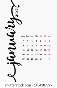 January 2020 Calendar Design. 12 Months Vector Page Template.
