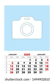 January 2020 calendar planner A3 size with place for your photo. Vector planner.