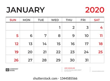 January 2020 Calendar template, Desk calendar layout  Size 9.5 x 6.5 inch, planner design, week starts on sunday, stationery design, vector Eps10