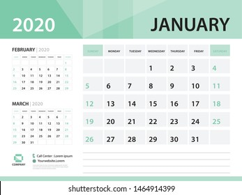 January 2020, Desk Calendar 2020 vector Design, green concept for business; Week Start On Sunday, Planner, Stationery, Printing, Size : 8 x 6 inch