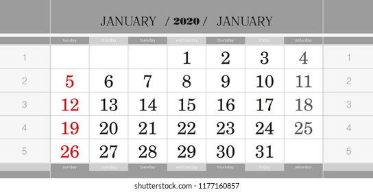 January 2020 Calendar No Background Quarters Stock Vectors, Images & Vector Art   Shutterstock