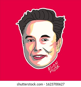 January 2020: A Vector Illustration Of Elon Musk on Red Background