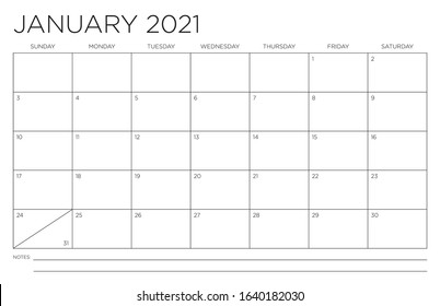 January 2021 Single Month Calendar Page Fits 11x17 Inch Print Modern Blank Template