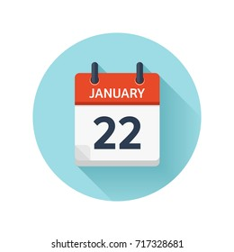 January 22. Vector flat daily calendar icon. Date and time, day, month 2018. Holiday. Season.