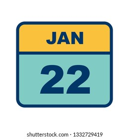 January 22nd Date on a Single Day Calendar