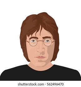 January 23, 2017: vector editorial illustration of the Beatles band member John Lennon on white background. The Beatles band topic.