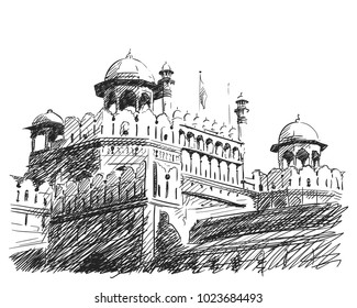 January 23, 2018: Hand drawn vector linear sketch of Red Fort Unesco world Heritage Site, which is located in New Delhi, India
