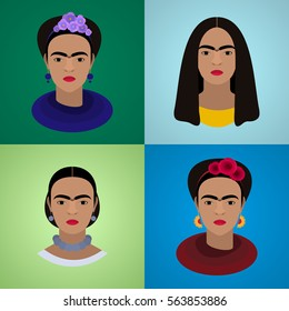 January 25, 2016: Set of vector portraits of famous Mexican artist Frida Kahlo.