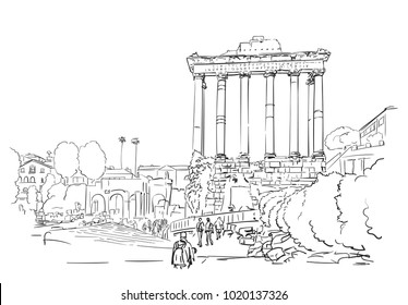 January 25, 2018: Hand drawn vector linear sketch of pillars of temple of Saturn in Roman Forum, which is located in Rome, Italy