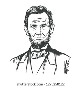 January 25, 2019: Hand Drawn Vector Portrait of Abraham Lincoln - 16th president of the United States