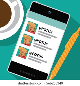 JANUARY 28, 2017: Illustrative editorial illustration of Donald Trump's smart phone using social media to comment. EPS 10 vector.
