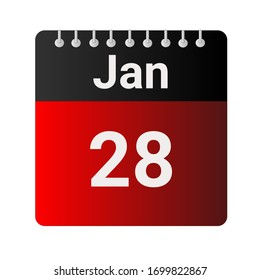 January 28 - Calendar Icon - Vector Illustration.