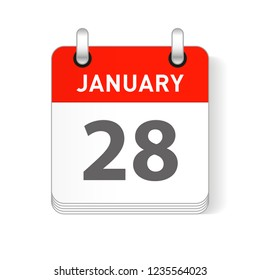 January 28 date visible on a page a day organizer calendar