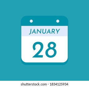 January 28 Single Day Calendar, 28 January