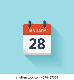 January 28.Calendar icon.Vector illustration,flat style.Date,day of month:Sunday,Monday,Tuesday,Wednesday,Thursday,Friday,Saturday.Weekend,red letter day.Calendar for 2017 year.Holidays in January.
