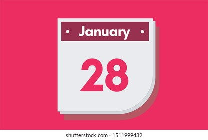 January 28th calendar icon. Day 28 of month. Vector illustration.