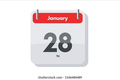January 28th calendar icon. Day 28 of month. Vector icon illustration.