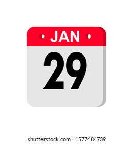 january 29rd. Day 29 of month, Simple calendar icon on white background. Planning. Time management. Set of calendar icons for web design. winter month, day of the year concept