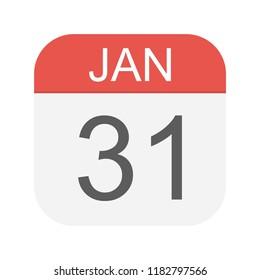 January 31 - Calendar Icon - Vector Illustration