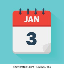 January 3rd. Daily calendar icon in vector format.  Date, time, day, month. Holidays