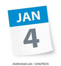 January 4 - Calendar Icon - Vector Illustration