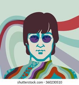 JANUARY 8 2016: Vector Illustration of John Lennon, eps10, vector  - stock vector