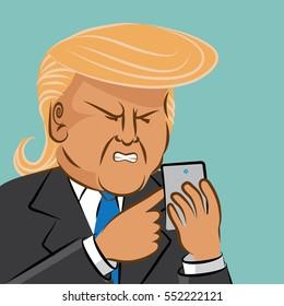 JANUARY 9, 2017: Illustrative editorial cartoon of Donald Trump using social media to comment. EPS 10 vector.