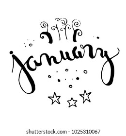 January Calligraphy Text, Typography, Black, On White Background