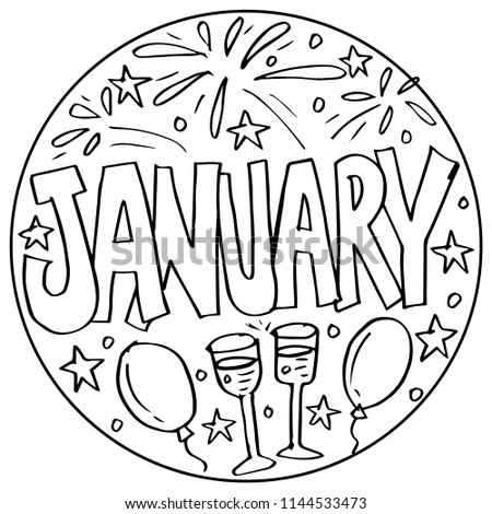 January Coloring Pages Kids Stock Vector Royalty Free 1144533473