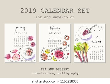 January, February, March calendar with ink calligraphy elements and dessert and tea illustration. Ink and watercolor macaron, marshmallow, jam, rhubarb pie, apple tart.