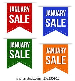 January sale banner design set over a white background, vector illustration