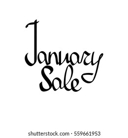 January Sale, isolated calligraphy lettering, word design template, vector illustration