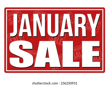 January sale sign, vector illustration
