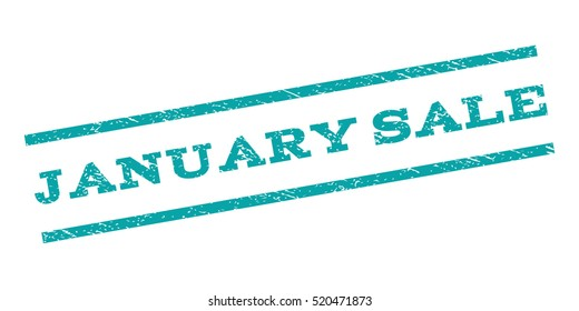 January Sale watermark stamp. Text caption between parallel lines with grunge design style. Rubber seal stamp with dirty texture. Vector cyan color ink imprint on a white background.