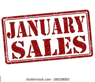 January sales grunge rubber stamp on white, vector illustration