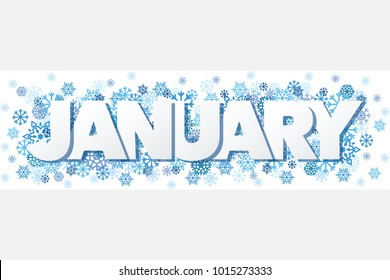 January Single Word With Snowflakes Banner Vector Illustration 1