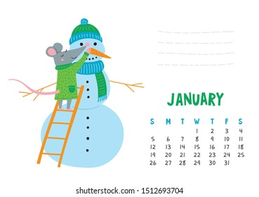 January. Vector calendar page with cute rat make snowman - Chinese symbol of 2020 year. Editable template A5, A4, A3 size, can be printed and used as a desk, table, wall calender for schedule